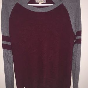 Red and gray lightweight sweater
